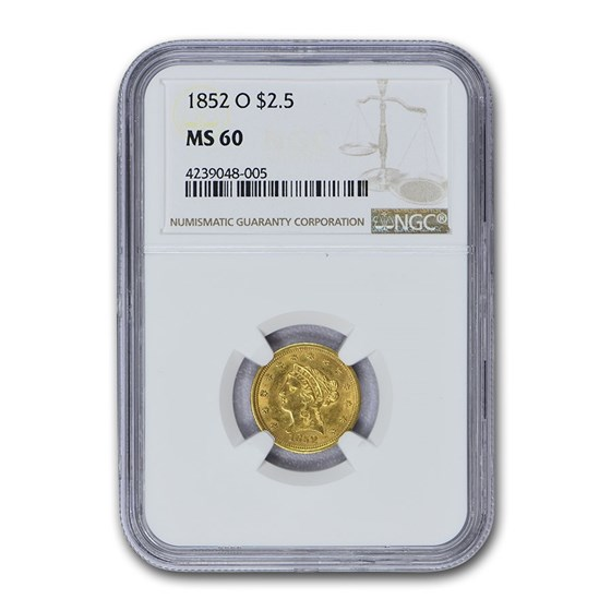 1852-O $2.50 Liberty Gold Quarter Eagle MS-60 NGC