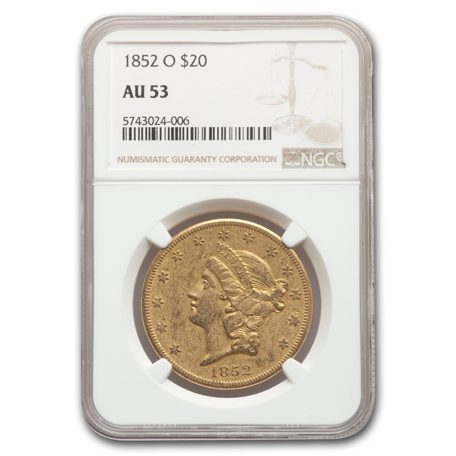 1852-O $20 Liberty Gold Double Eagle AU-53 NGC