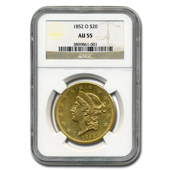 1852-O $20 Liberty Gold Double Eagle AU-55 NGC