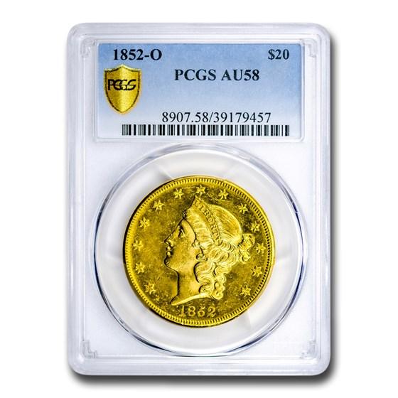 1852-O $20 Liberty Gold Double Eagle AU-58 PCGS