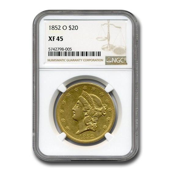 1852-O $20 Liberty Gold Double Eagle XF-45 NGC