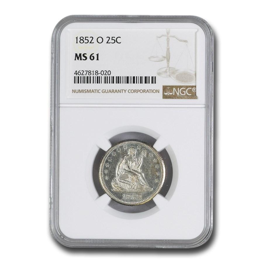 1852-O Liberty Seated Quarter MS-61 NGC