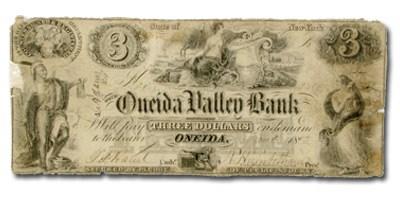 1852 Oneida Valley Bank, Oneida NY $3 NY-930, VF COUNTERFEIT