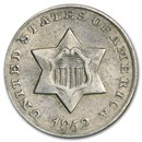1852 Three Cent Silver AU