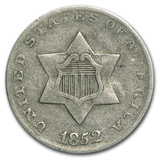 1852 Three Cent Silver Choice XF