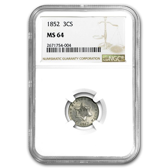 1852 Three Cent Silver MS-64 NGC