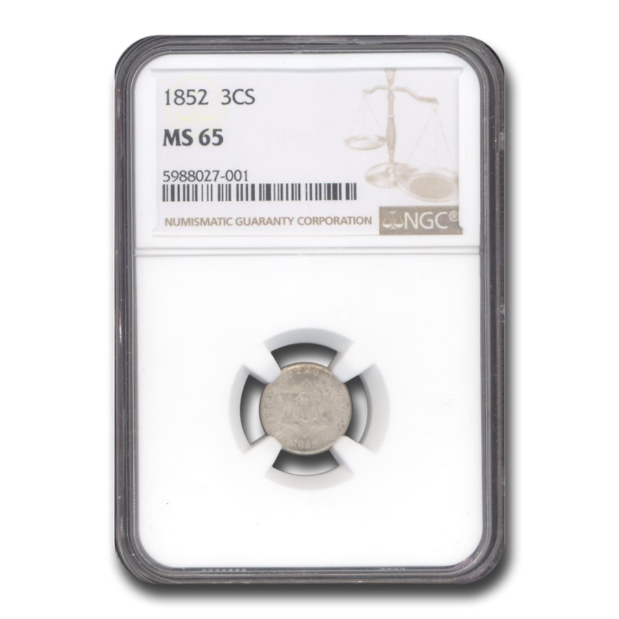 1852 Three Cent Silver MS-65 NGC