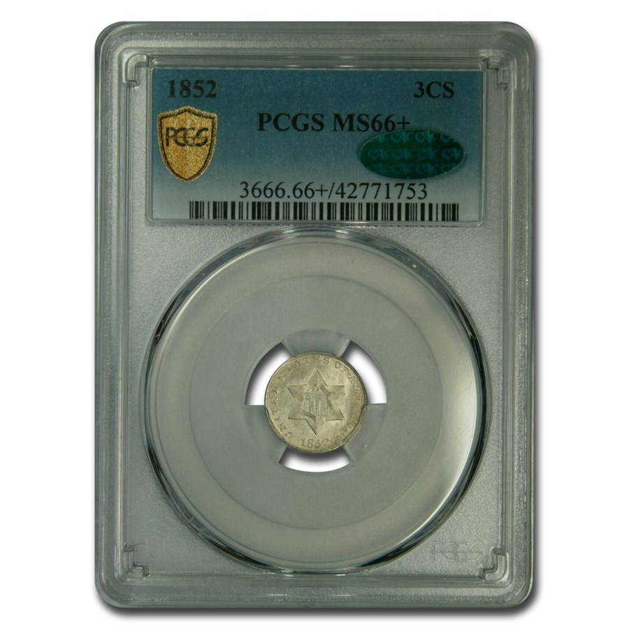 1852 Three Cent Silver MS-66+ PCGS CAC