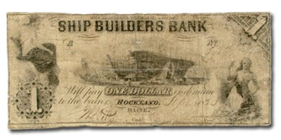 1853 $1.00 Ship Builder Bank of Rockland, ME ME510 VG Details