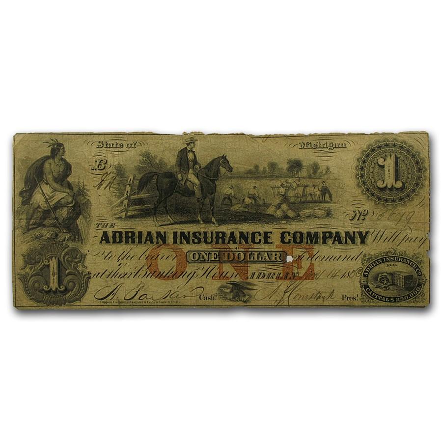 1853 $1.00 The Adrian Insurance Company, Adrian, MI Fine