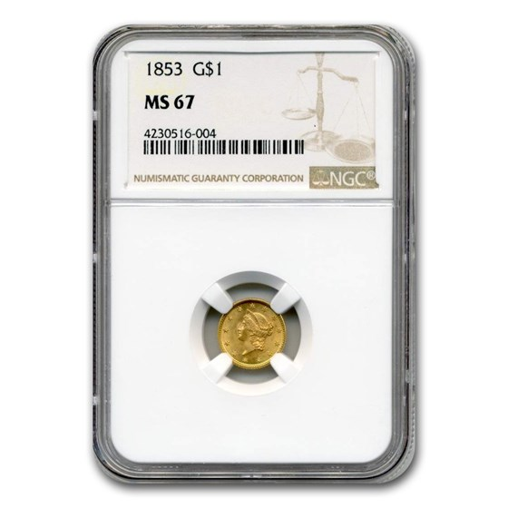 1853 $1 Indian Head Gold MS-67 NGC