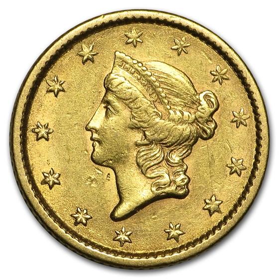 1853 $1 Liberty Head Gold Dollar AU