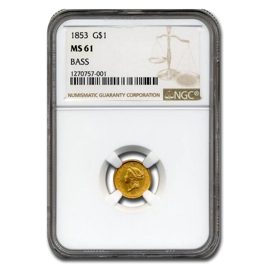 1853 $1 Liberty Head Gold Dollar MS-61 NGC