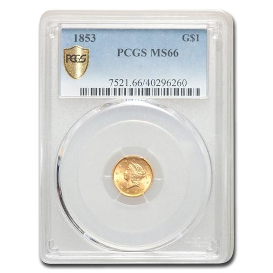 1853 $1 Liberty Head Gold Dollar MS-66 PCGS