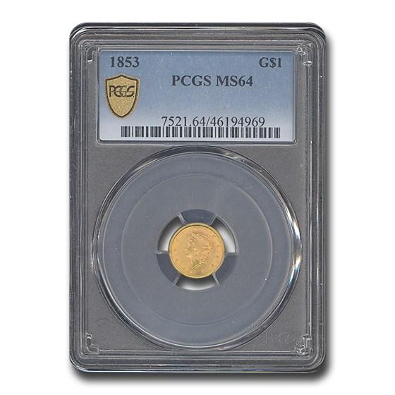 1853 $1 Liberty Head Gold MS-64 PCGS