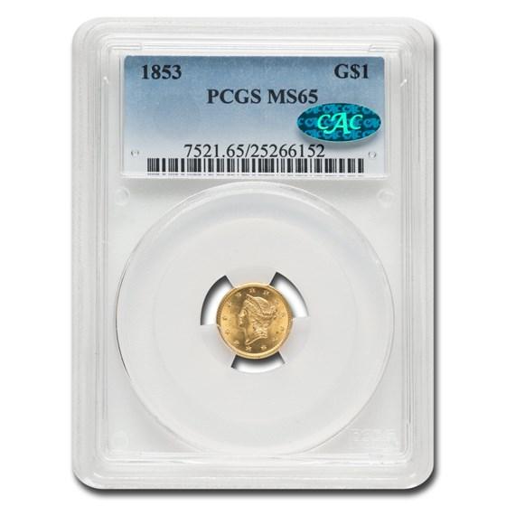 1853 $1 Liberty Head Gold MS-65 PCGS CAC