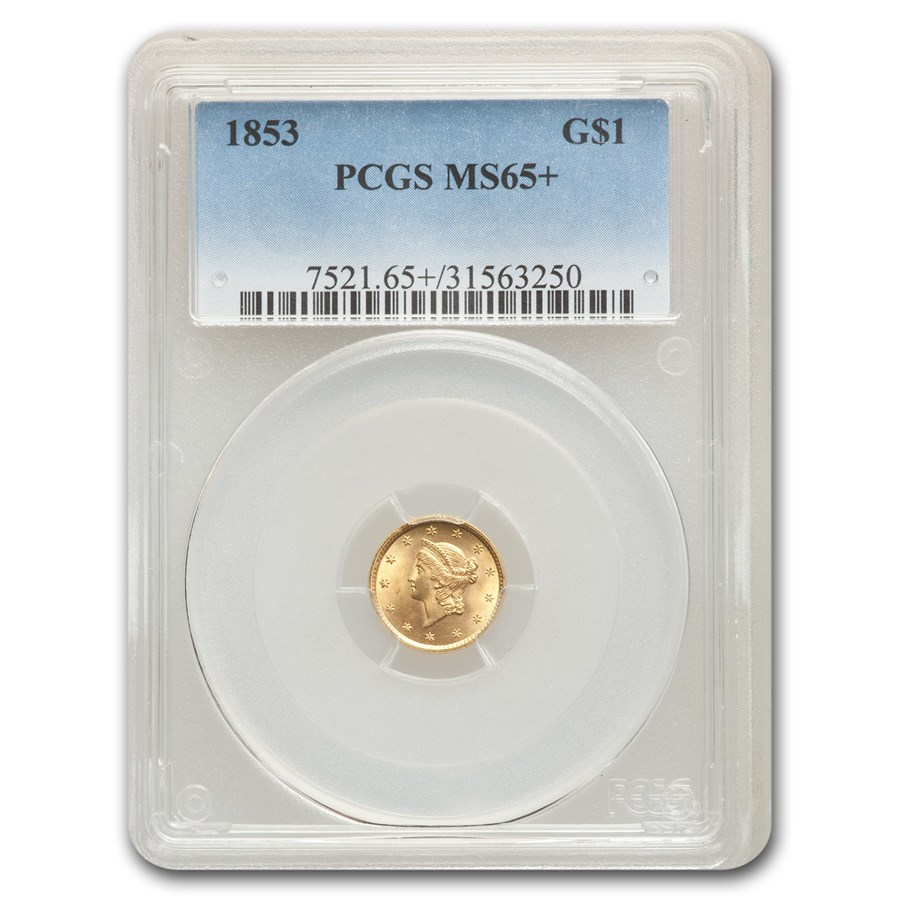 1853 $1 Liberty Head Gold MS-65+ PCGS