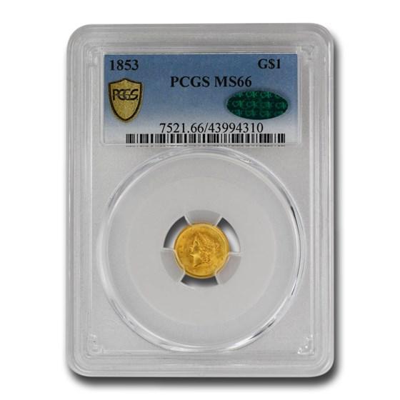 1853 $1 Liberty Head Gold MS-66 PCGS CAC