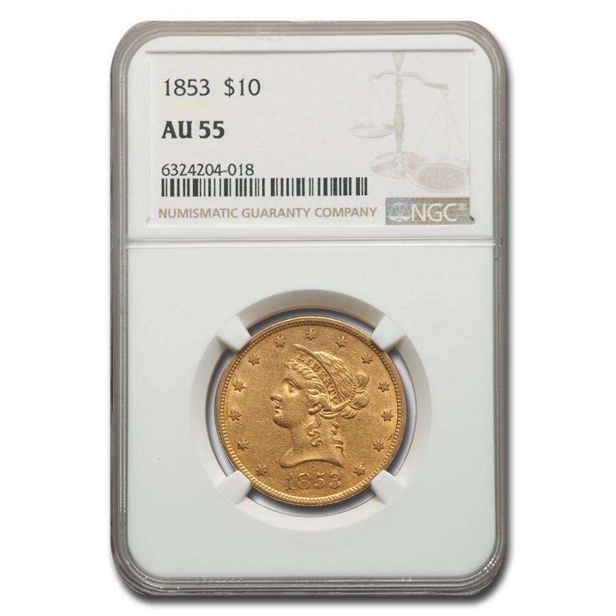1853 $10 Liberty Gold Eagle AU-55 NGC