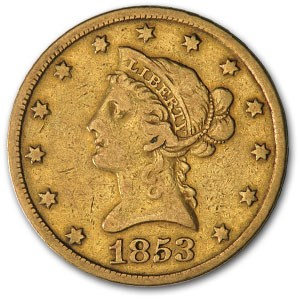 1853 $10 Liberty Gold Eagle (Cleaned)