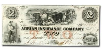 1853 $2.00 Adrian Insurance Co., Adrian MI, AU
