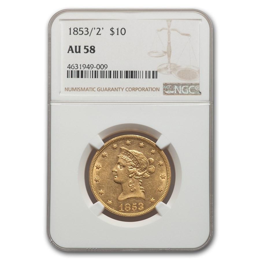1853/2 $10 Liberty Gold Eagle AU-58 NGC