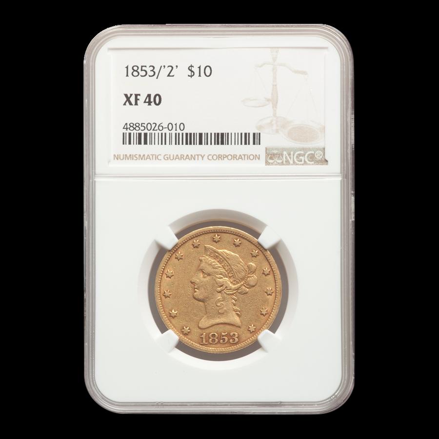 1853/2 $10 Liberty Gold Eagle XF-40 NGC