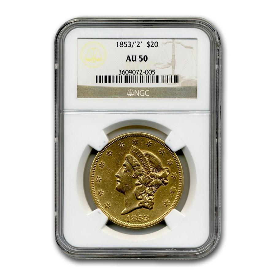 1853/2 $20 Liberty Gold Double Eagle AU-50 NGC