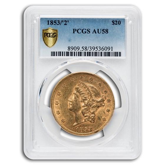 1853/2 $20 Liberty Gold Double Eagle AU-58 PCGS