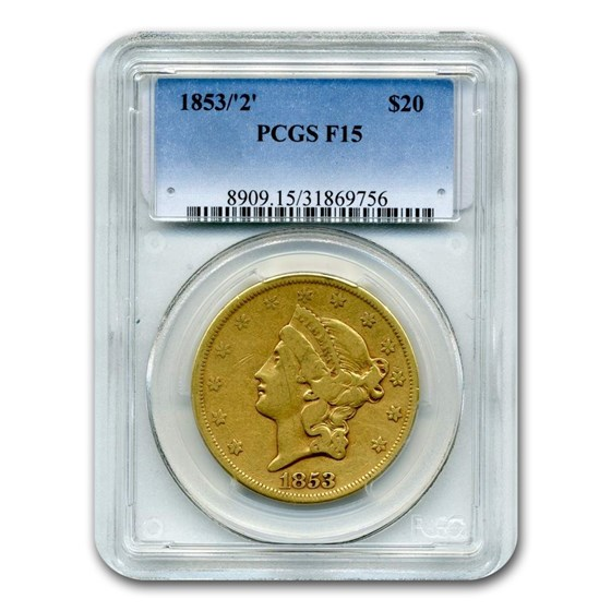 1853/2 $20 Liberty Gold Double Eagle Fine-15 PCGS