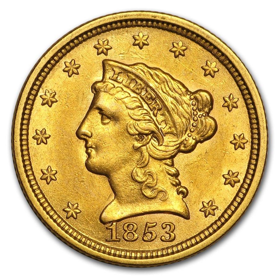 1853 $2.50 Liberty Gold Quarter Eagle AU