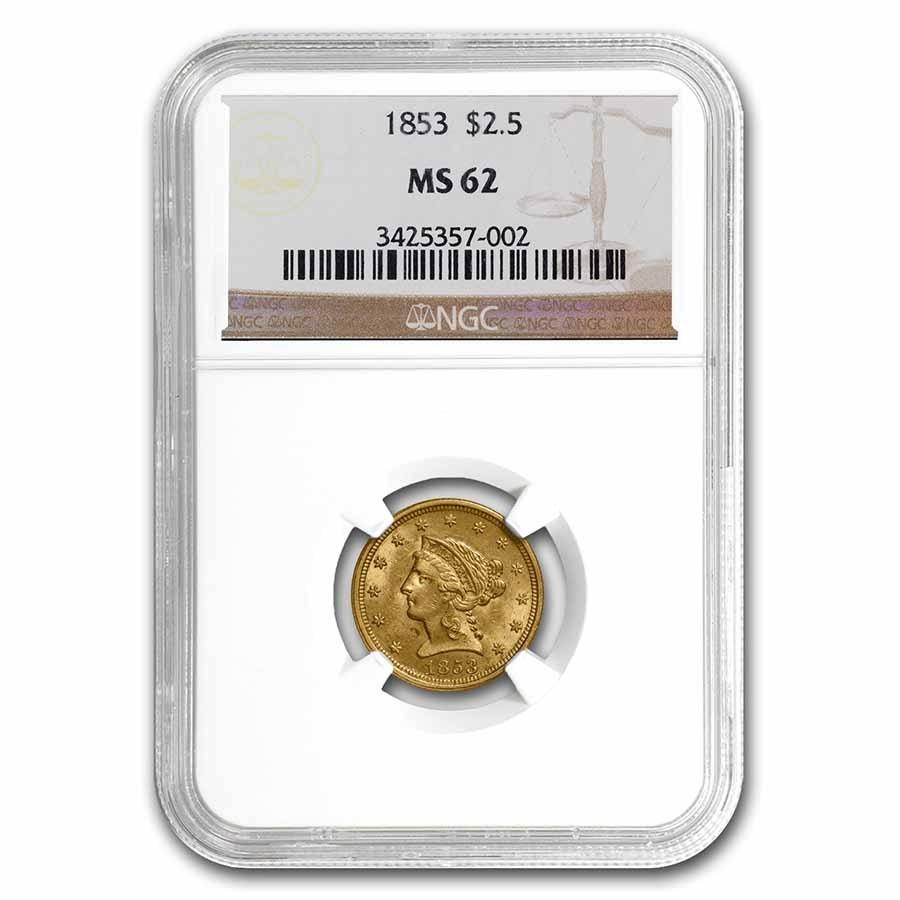 1853 $2.50 Liberty Gold Quarter Eagle MS-62 NGC