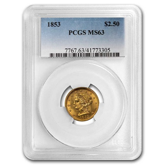 1853 $2.50 Liberty Gold Quarter Eagle MS-63 PCGS