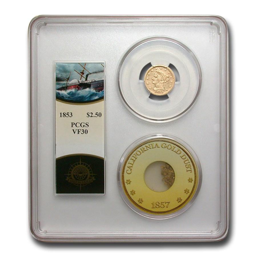 1853 $2.50 Liberty Gold Quarter Eagle VF-30 PCGS (SS Cen America)