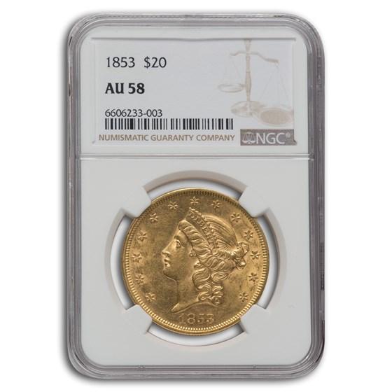 1853 $20 Liberty Gold Double Eagle AU-58 NGC