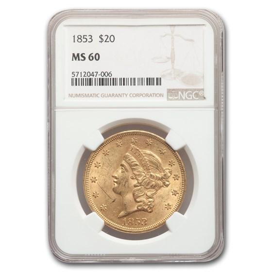 1853 $20 Liberty Gold Double Eagle MS-60 NGC