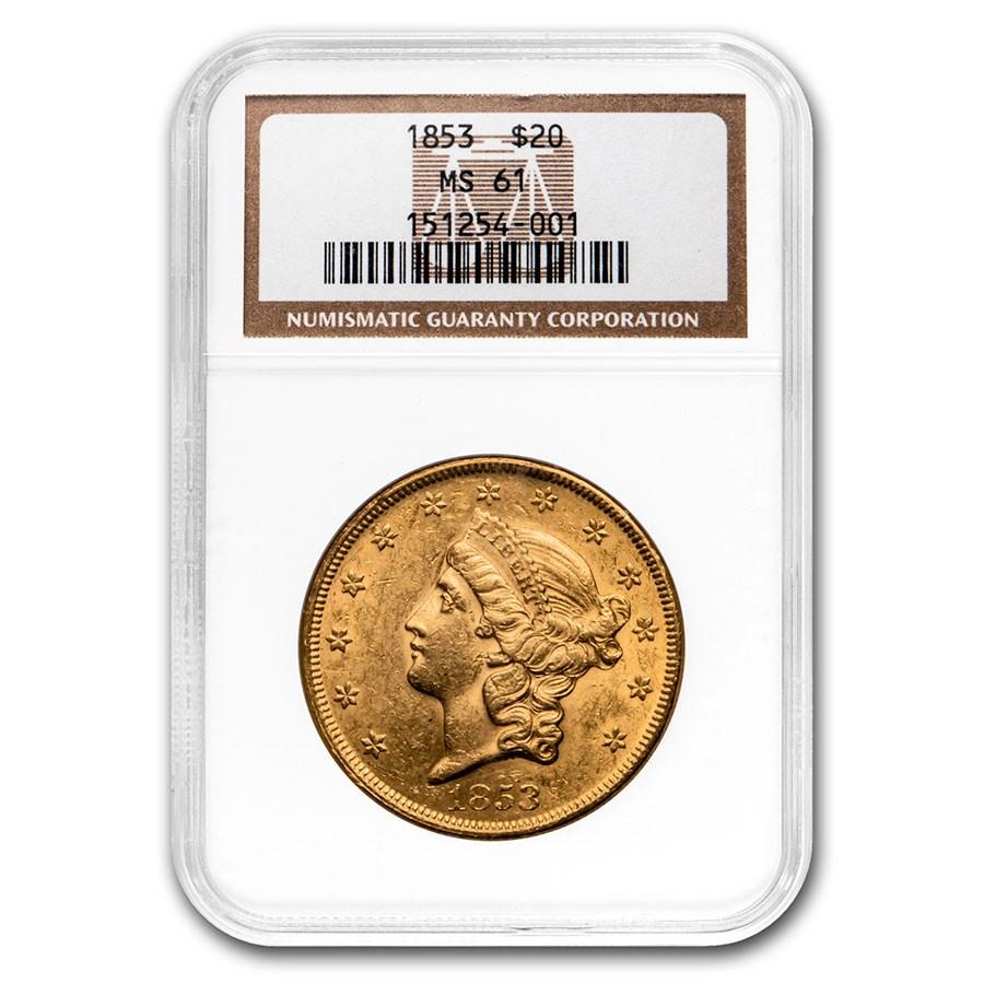 1853 $20 Liberty Gold Double Eagle MS-61 NGC