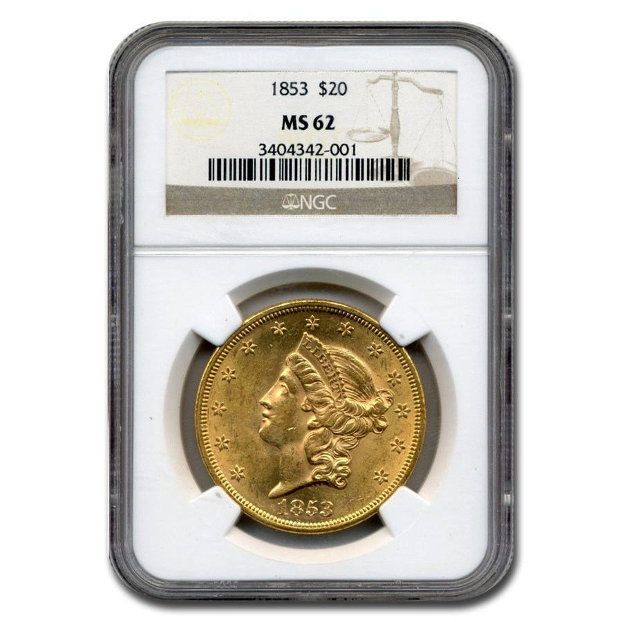 1853 $20 Liberty Gold Double Eagle MS-62 NGC