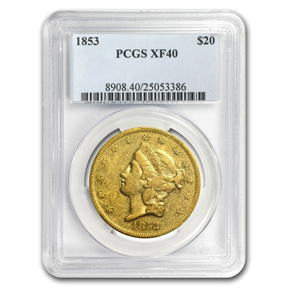1853 $20 Liberty Gold Double Eagle XF-40 PCGS