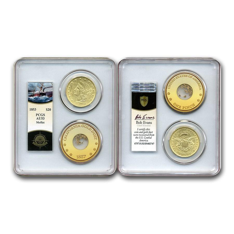 1853 $20 Moffat & Co Liberty Gold Double Eagle AU-53 PCGS
