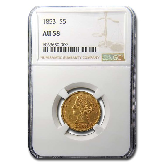 1853 $5 Liberty Gold Half Eagle AU-58 NGC