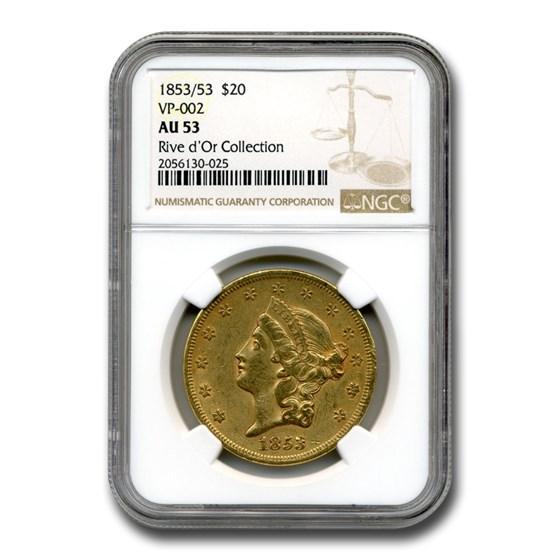 1853/53 $20 Liberty Gold Double Eagle AU-53 NGC (VP-002)