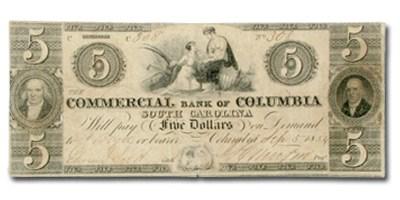 1853-56 Commercial Bank of Columbia, South Carolina $5 SC-70 VF
