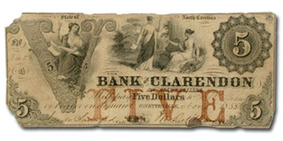 1853 Bank of Clarendon, Fayetteville, NC $5, NC-15, VF