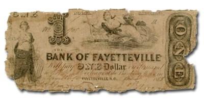 1853 Bank of Fayetteville, NC $1, NC-20, VG details