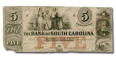 1853 Bank of South Carolina, Charleston, SC $5 SC-30 VF