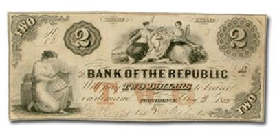 1853 Bank of the Republic, Providence, RI $2 RI-385 VF