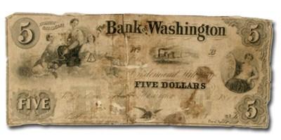 1853 Bank of Washington, NC $5 NC-85 VG