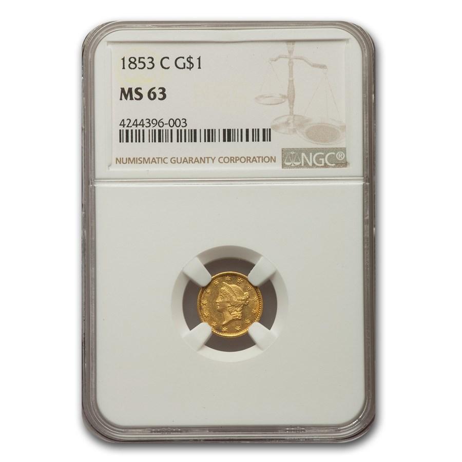 1853-C $1 Liberty Head Gold MS-63 NGC