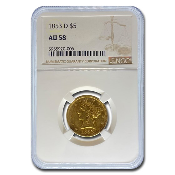 1853-D $5.00 Liberty Gold Half Eagle AU-58 NGC